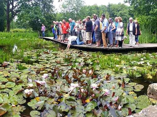 Referent und Seminarteilnehmer am Teich im Park