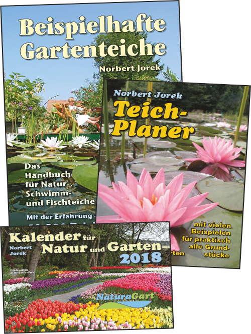 Titelblätter des Teichbuches, des Teichplaners und des Gartenkalenders