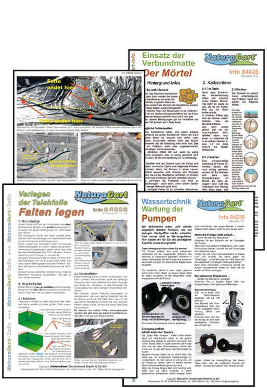 Infoblätter zum Einbau, Verwendung und Nutzung von spezifischen Teichbau-Produkten