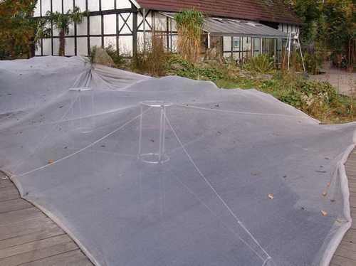 Schwimmende Stützten halten das Netz hoch