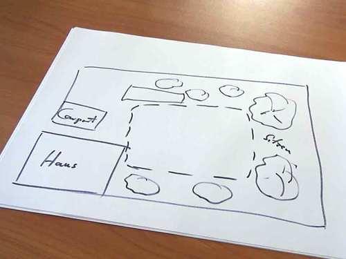 Von Hand gezeichnete Skizze des Gartens mit Teich