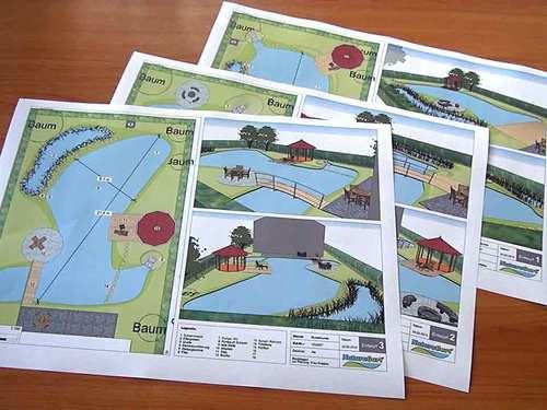 Drei CAD-Zeichnugen der Teich-Vorschläge