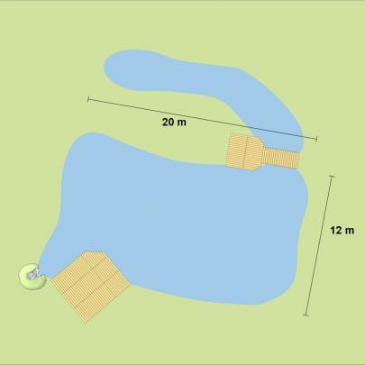 Schwimmteich 300 m³, preiswerte Bauweise mit Teichfolie Standard+, schwarz, 1mm