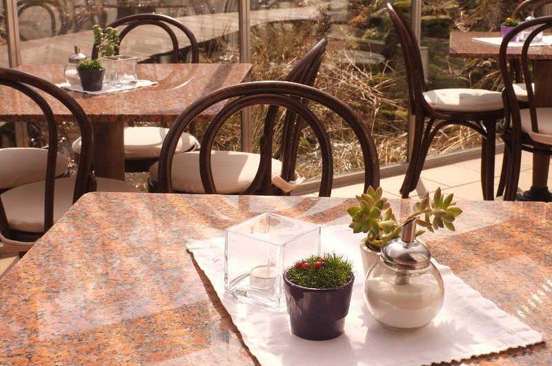 Impressionen aus dem Café, freier Blick auf Garten-Teiche, Stege und Pavillons