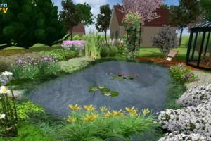 3D Grafik eines Gartenteiches