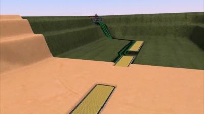 3D Grafik eines Teichbodens mit Sedimentfallen
