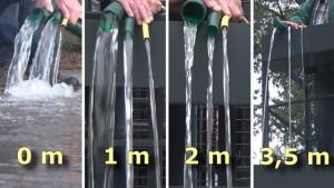 Schläuche aus denen je nach Pumpenleistung jeweils mehr oder weniger Wasser fliesst