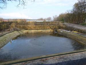In dem großen Becken setzten sich die groben Algenreste ab.
