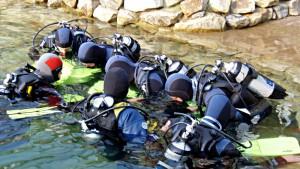Taucher am Eingang zum Unterwasserpark