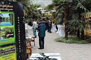 Das erste Gartenteich-Seminar 2013 bei NaturaGart; Blick in die große Palmenhalle