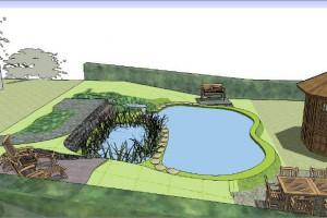 3D-Ansicht einer Teichbau-Planungshilfe