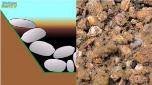 Sedimente, Schlamm und Partikel sammeln sich zwischen den Steinen und können nicht aufgesaugt werden.