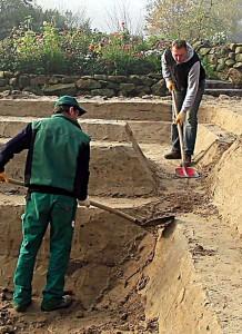 Durch Arbeitsanleitungen sind alle Schritte beim Teich-Selbstbau klar geregelt.