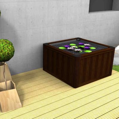 Miniteich- Komplettsets können sehr dekorativ sein, hier mit passenden Mini-Seerosen.