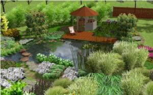 Ein Sauna-Tauchbecken in der 3D-Animation