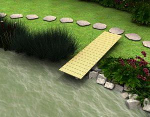 Der Teichsteg schafft direkten Wasserkontakt, dasselbe System kann auch als Bootssteg genutzt werden.
