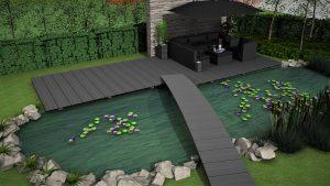 """Formschön, rutschfest und stabil: eine Terrasse mit Steg und Brücke. Die Eindeckung ist """"PE anthrazit""""."""