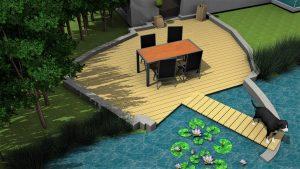 Kantige Idylle: die Terrasse mit Steg besticht durch ihre individuelle Formgebung