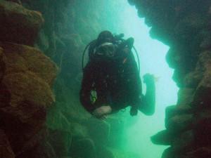 Die Tauchlandschaft ist einmalig auf der Welt und ist von Höhlen durchzogen.