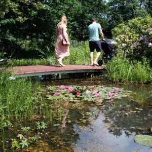 Ein Steg oder eine Brücke sind eine perfekte Ergänzug eines Gartenteiches