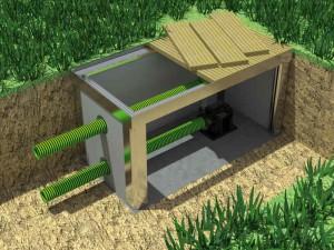 Für den Teichpumpen-Einbau nach VDE-Richtlinien hat NaturaGart Schächte entwickelt, die begehbar sein können.