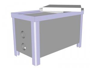 Skizze eines Pumpenschachtes aus Aluminiumprofilen. Die Seiten können mit Standard-Platten gefüllt werden.