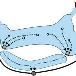 Schematische Darstellung der Wasserbewegung in einem unregelmäßig geformten Teich. Die Zielsaugtechnik ist durch die Rechtecke dargestellt, hier laufen je drei Ansaugpunkte zusammen.