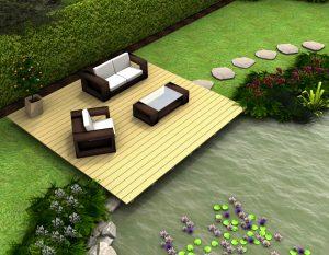 Eine Teichterrasse: ein von Pflanzen gesäumter Zugang zum Wasser.