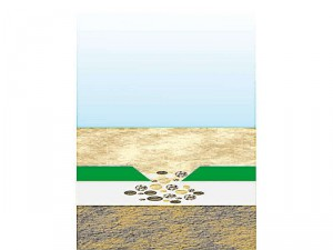 Schema der selbstreparierenden Teichabdichtung